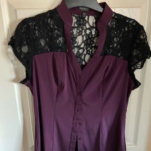 Purple and lace blouse